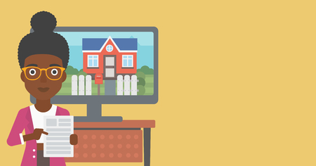 An african-american young woman standing in front of tv screen with house photo on it and pointing at a real estate contract. Vector flat design illustration. Horizontal layout. 向量圖像
