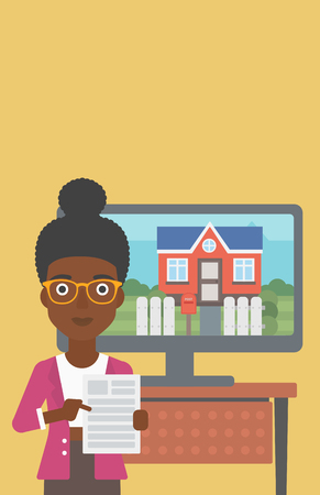 An african-american young woman standing in front of tv screen with house photo on it and pointing at a real estate contract. Vector flat design illustration. Vertical layout. 向量圖像