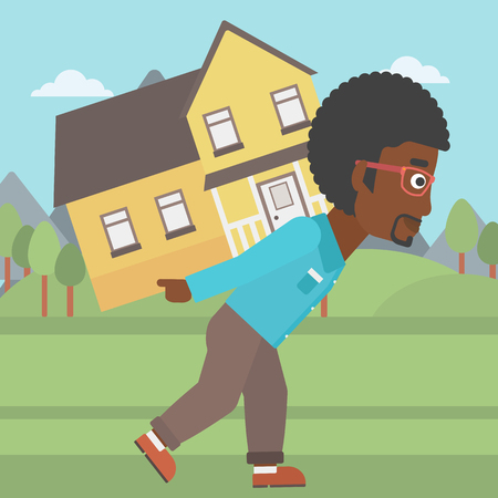 An african-american man carrying a big house on his back on the background of mountains. Vector flat design illustration. Square layout.