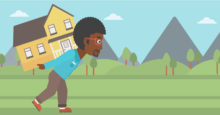 An african-american man carrying a big house on his back on the background of mountains. Vector flat design illustration. Horizontal layout.
