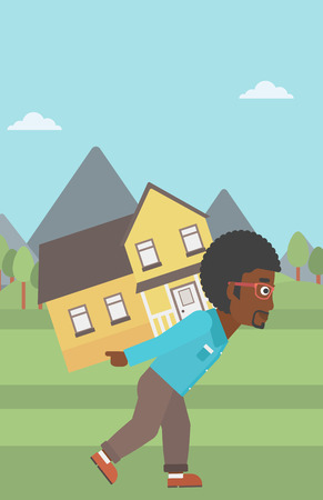 An african-american man carrying a big house on his back on the background of mountains. Vector flat design illustration. Vertical layout.