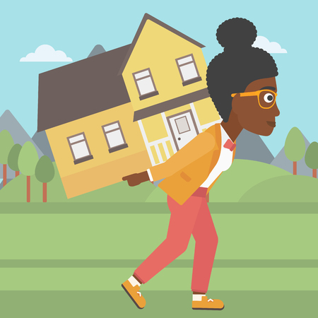 An african-american young woman carrying a big house on her back on the background of mountains. Vector flat design illustration. Square layout.