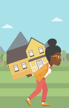 An african-american young woman carrying a big house on her back on the background of mountains. Vector flat design illustration. Vertical layout.