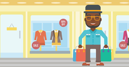 An african-american man holding shopping bags on the background of boutique window with dressed mannequins. Happy young man carrying shopping bags. Vector flat design illustration. Horizontal layout.
