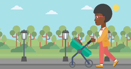 An african-american young mother walking with baby stroller in the park. Mother walking with her baby in stroller. Mother pushing baby stroller. Vector flat design illustration. Horizontal layout. 向量圖像
