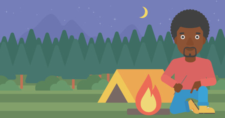 kindle: An african-american man kindling a campfire on the background of camping site with tent. Tourist relaxing near campfire. Vector flat design illustration. Horizontal layout. Illustration