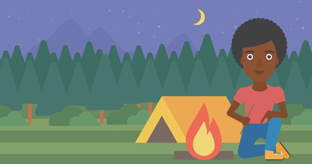 kindling: African-american woman kindling campfire on the background of camping site with tent. Tourist relaxing near campfire. Woman sitting near campfire. Vector flat design illustration. Horizontal layout. Illustration