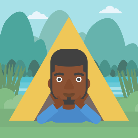 An african-american man crawling out from a camping tent. Man with his hands on cheek lying in camping tent and relaxing. Vector flat design illustration. Square layout.