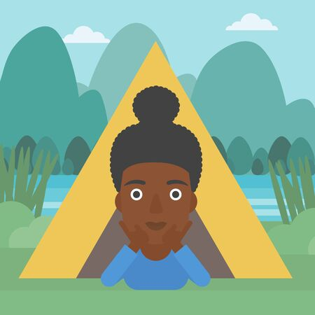 cheek: An african-american woman crawling out from a camping tent. Travelling woman with her hands on cheek lying in camping tent and relaxing. Vector flat design illustration. Square layout.