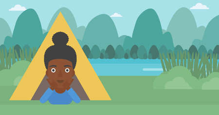 cheek: An african-american woman crawling out from a camping tent. Travelling woman with her hands on cheek lying in camping tent and relaxing. Vector flat design illustration. Horizontal layout.