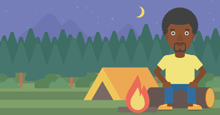 camping site: African-american travelling man sitting on a log near a fire on a background of camping site with tent. Man sitting near a campfire at a campsite. Vector flat design illustration. Horizontal layout.