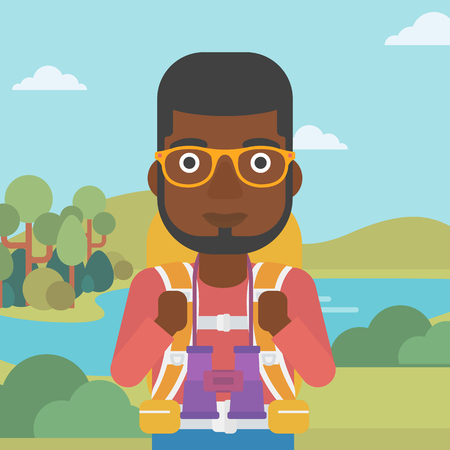 backpacker: An african-american man walking in the mountains. Male traveler with backpack and binoculars. Backpacker hiking in mountains. Vector flat design illustration. Square layout.