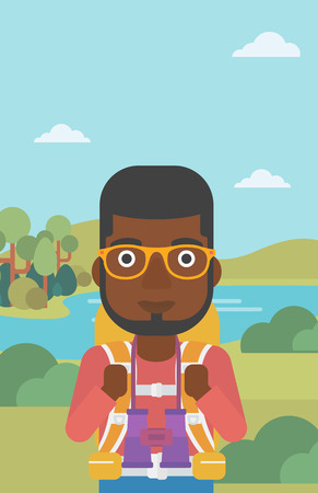 backpacker: An african-american man walking in the mountains. Male traveler with backpack and binoculars. Backpacker hiking in mountains. Vector flat design illustration. Vertical layout.