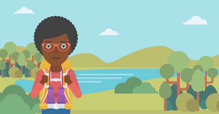 backpacker: An african-american woman with backpack walking in the mountains. Female backpacker with binoculars. Female traveler hiking in mountains. Vector flat design illustration. Horizontal layout.