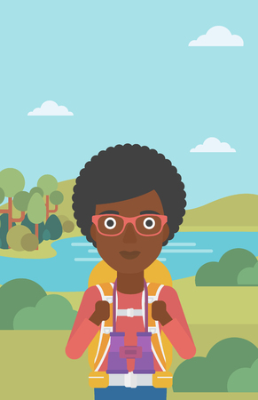 woman hiking: An african-american woman with backpack walking in the mountains. Female backpacker with binoculars. Female traveler hiking in mountains. Vector flat design illustration. Vertical layout.