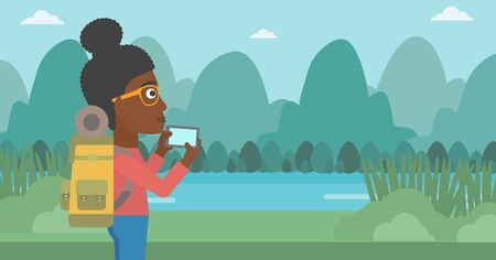 woman cellphone: An african-american woman taking photo of landscape with mountains. Young hiking woman with backpack taking photo with her cellphone. Vector flat design illustration. Horizontal layout.
