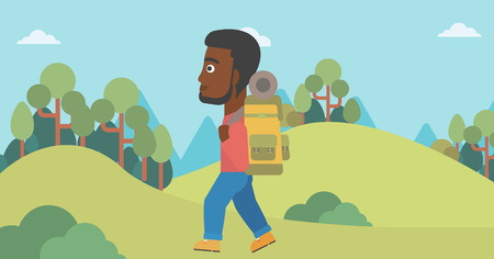An african-american man hiking in mountains. Traveler with backpack mountaineering. Hiking man with backpack walking outdoor. Vector flat design illustration. Horizontal layout.