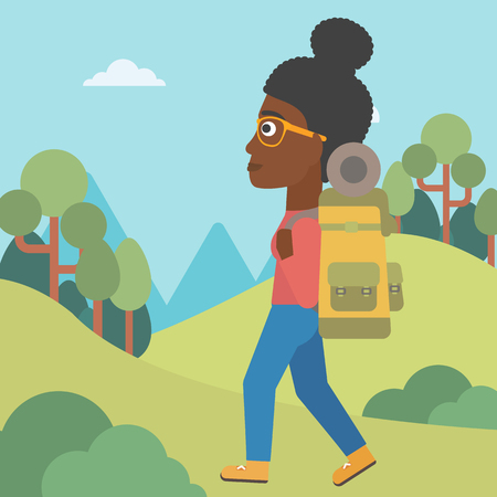woman hiking: An african-american woman hiking in mountains. Female traveler with backpack mountaineering. Hiking woman with backpack walking outdoor. Vector flat design illustration. Square layout. Illustration