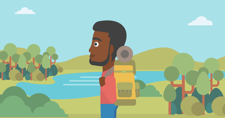An african-american man with backpack enjoying the view of landscape with mountains and lake. Vector flat design illustration. Horizontal layout. Illustration