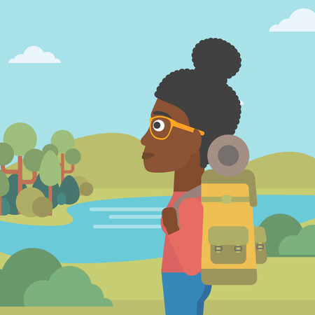 woman hiking: An african-american woman with backpack enjoying the view of landscape with mountains and lake. Vector flat design illustration. Square layout.