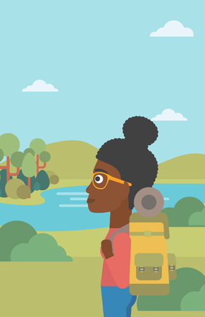woman hiking: An african-american woman with backpack enjoying the view of landscape with mountains and lake. Vector flat design illustration. Vertical layout. Illustration