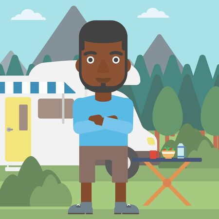 motor home: An african-american man standing in front of motor home. Young man with arms crossed enjoying vacation in camper van. Vector flat design illustration. Square layout.