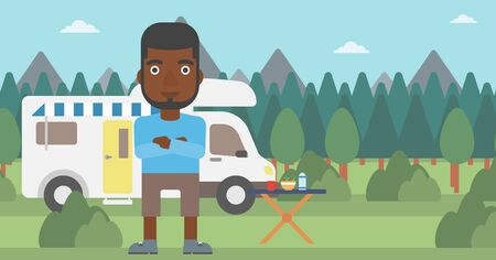 motor home: An african-american man standing in front of motor home. Young man with arms crossed enjoying vacation in camper van. Vector flat design illustration. Horizontal layout.