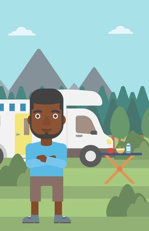 motor home: An african-american man standing in front of motor home. Young man with arms crossed enjoying vacation in camper van. Vector flat design illustration. Vertical layout.