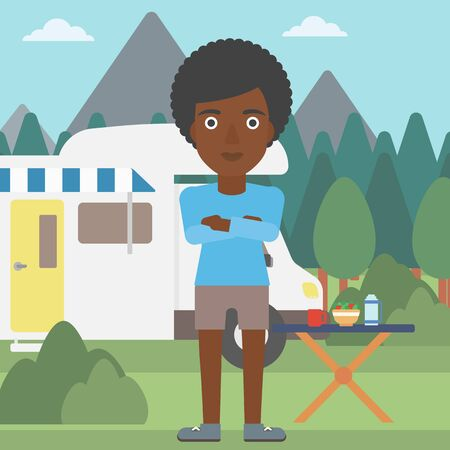 motor home: An african-american woman standing in front of motor home. Woman with arms crossed enjoying vacation in camper van. Woman travelling by camper van. Vector flat design illustration. Square layout. Illustration