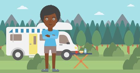 motor home: An african-american woman standing in front of motor home. Woman with arms crossed enjoying vacation in camper van. Woman travelling by camper van. Vector flat design illustration. Horizontal layout. Illustration