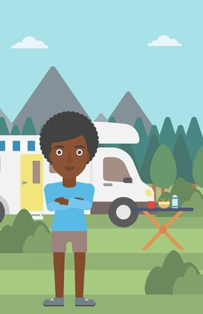 motor home: An african-american woman standing in front of motor home. Woman with arms crossed enjoying vacation in camper van. Woman travelling by camper van. Vector flat design illustration. Vertical layout.