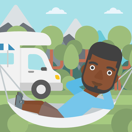 motor home: An african-american man lying in a hammock in front of motor home. Man resting in hammock and enjoying vacation in camper van. Vector flat design illustration. Square layout.