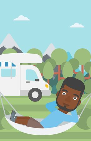 motor home: An african-american man lying in a hammock in front of motor home. Man resting in hammock and enjoying vacation in camper van. Vector flat design illustration. Vertical layout. Illustration