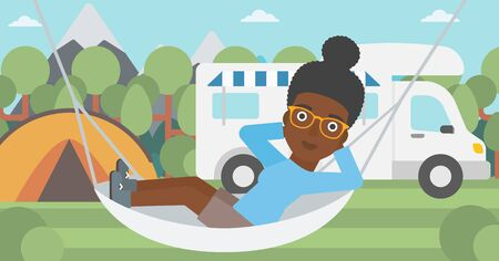 motor home: An african-american woman lying in hammock in front of motor home in the forest. Woman resting in hammock and enjoying vacation in camper van. Vector flat design illustration. Horizontal layout.
