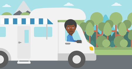 motor home: An african-american man driving a motor home in the forest. Man travelling by camper van. Vector flat design illustration. Horizontal layout. Illustration