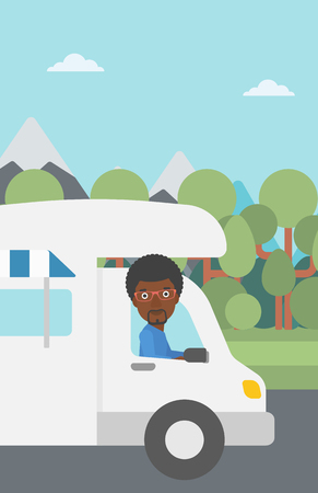 motor home: An african-american man driving a motor home in the forest. Man travelling by camper van. Vector flat design illustration. Vertical layout. Illustration