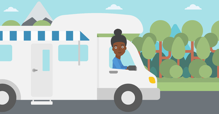 motor home: An african-american woman driving a motor home in the forest. Woman travelling by camper van. Vector flat design illustration. Horizontal layout.