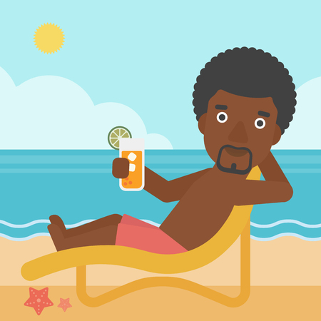 chaise longue: An african-american man sitting in chaise longue and holding a cocktail in hand on the background of sand beach with blue sea. Vector flat design illustration. Square layout.