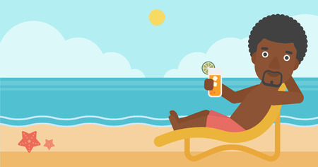 An african-american man sitting in chaise longue and holding a cocktail in hand on the background of sand beach with blue sea. Vector flat design illustration. Horizontal layout. Vettoriali