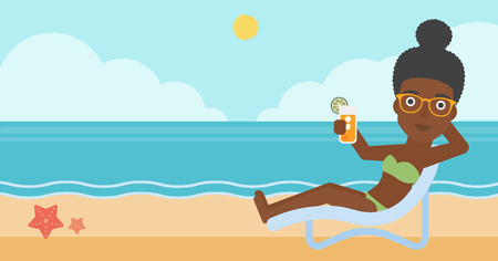 chaise longue: An african-american woman sitting in a chaise longue and holding a cocktail in hand on the background of sand beach with blue sea. Vector flat design illustration. Horizontal layout. Illustration