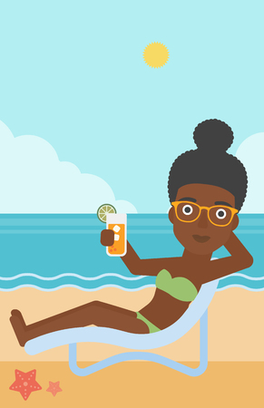 chaise longue: An african-american woman sitting in a chaise longue and holding a cocktail in hand on the background of sand beach with blue sea. Vector flat design illustration. Vertical layout. Illustration