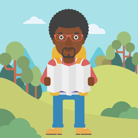 Traveler with backpack looking at map. An african-american man travelling in mountains. Traveler searching right direction on map. Vector flat design illustration. Square layout.
