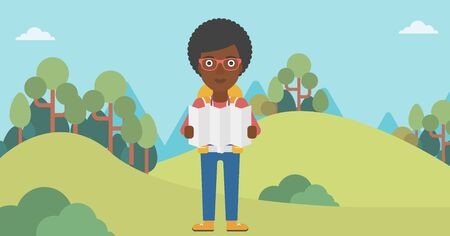 Traveler with backpack looking at map. An african-american woman travelling in mountains. Traveler searching right direction on map. Vector flat design illustration. Horizontal layout. Ilustrace