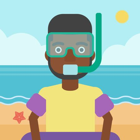 rubber ring: An african-american man in mask, tube and rubber ring standing on the background of beach and sea. Man wearing snorkeling equipment on the beach. Vector flat design illustration. Square layout.