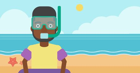 rubber ring: An african-american man in mask, tube and rubber ring standing on the background of beach and sea. Man wearing snorkeling equipment on the beach. Vector flat design illustration. Horizontal layout. Illustration