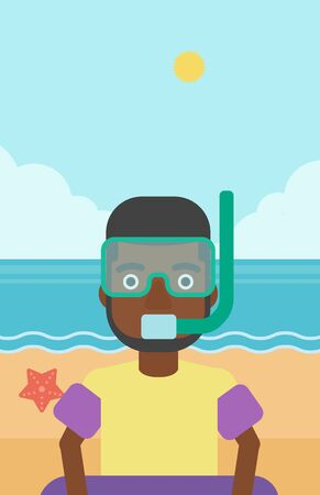 rubber ring: An african-american man in mask, tube and rubber ring standing on the background of beach and sea. Man wearing snorkeling equipment on the beach. Vector flat design illustration. Vertical layout.