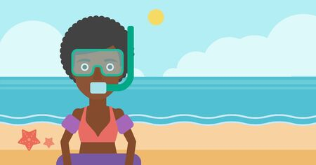 rubber ring: African-american woman in mask, tube and rubber ring standing on the background of beach and sea. Woman wearing snorkeling equipment on the beach. Vector flat design illustration. Horizontal layout.