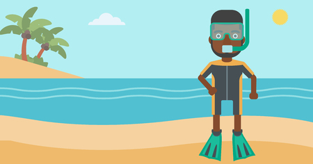 man underwater: An african-american man in diving suit, flippers, mask and tube standing on the beach. Male scuba diver on the beach. Man enjoying snorkeling. Vector flat design illustration. Horizontal layout. Illustration