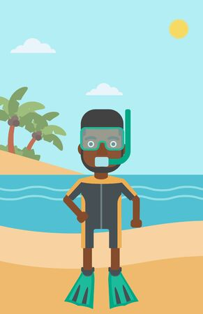 flippers: An african-american man in diving suit, flippers, mask and tube standing on the beach. Male scuba diver on the beach. Man enjoying snorkeling. Vector flat design illustration. Vertical layout. Illustration
