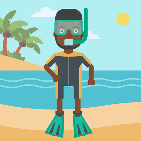 An african-american man in diving suit, flippers, mask and tube standing on the beach. Male scuba diver on the beach. Man enjoying snorkeling. Vector flat design illustration. Square layout. Illustration